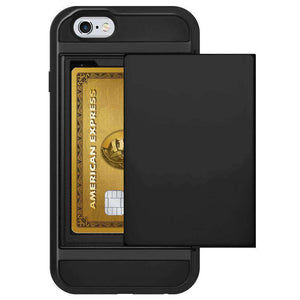 AMZER Full Body Hybrid Credit Card Case With Holster for iPhone 6 - Black - fommystore
