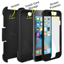 Load image into Gallery viewer, AMZER Full Body Hybrid Credit Card Case With Holster for iPhone 6 Plus - Black - fommystore