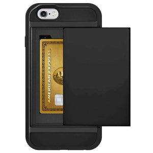 AMZER Full Body Hybrid Credit Card Case With Holster for iPhone 6 Plus - Black - fommystore