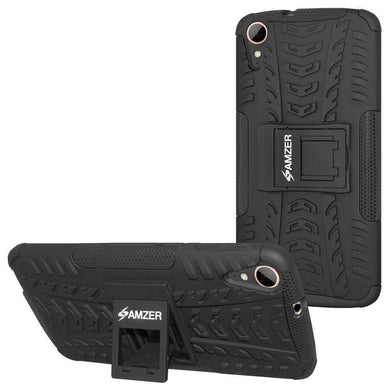 AMZER Shockproof Warrior Hybrid Case for HTC Desire 828 - Black/Black - fommystore