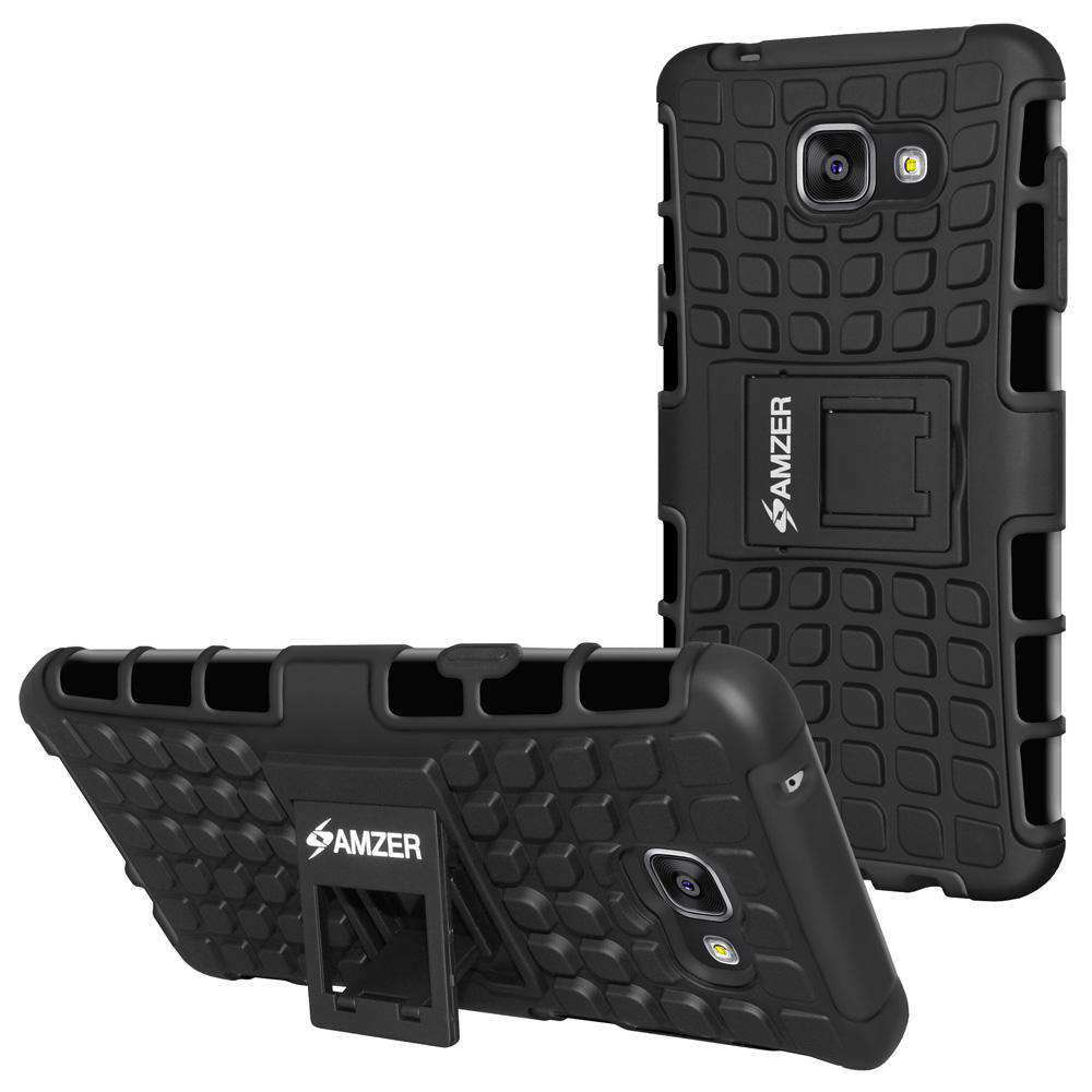 AMZER Hybrid Warrior Kickstand Case for Samsung GALAXY A3 2016 - Black/Black - fommystore