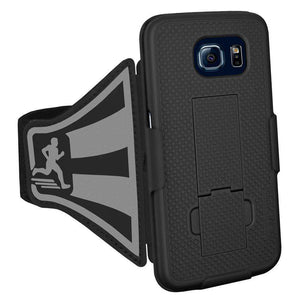 AMZER Jogging Gym Armband Workout Snap On Shellster Case For Samsung Galaxy S6 - Black - fommystore