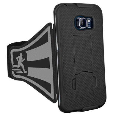 AMZER Jogging Gym Armband Workout Snap On Shellster Case For Samsung Galaxy S6 Edge - Black - fommystore