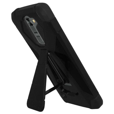 AMZER Dual Layer Hybrid KickStand Case for LG K7 - Black/ Black - fommystore
