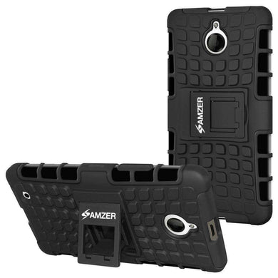 AMZER Shockproof Warrior Hybrid Case for Microsoft Lumia 850 - Black/Black - fommystore