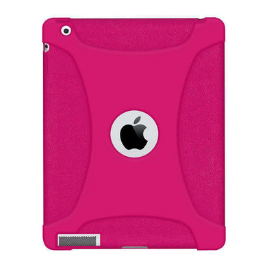 AMZER Shockproof Rugged Silicone Skin Jelly Case for iPad 2 - Hot Pink - fommystore