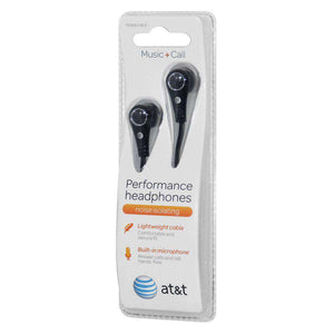 AT&T 3.5mm Tangle-Free Flat Performance Handsfree Headphones - Black - fommystore