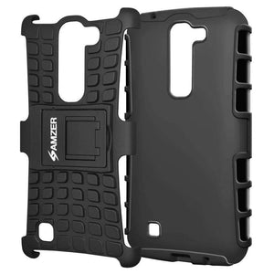 AMZER Shockproof Warrior Hybrid Case for LG K10 - Black/Black - fommystore