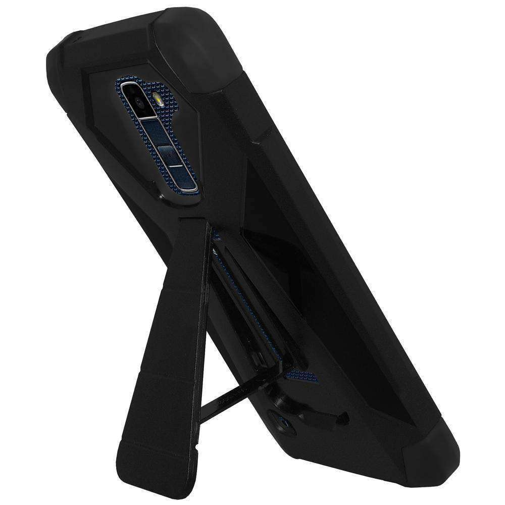 AMZER Dual Layer Hybrid KickStand Case for LG K10 - Black/ Black - fommystore