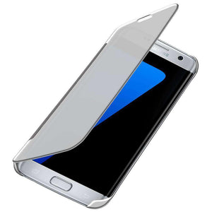 Mirror View Flip Cover With Sleeper Function for Samsung GALAXY S7 Edge - Silver - fommystore