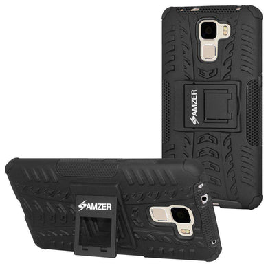 AMZER Shockproof Warrior Hybrid Case for Huawei Honor 7 - Black/Black - fommystore