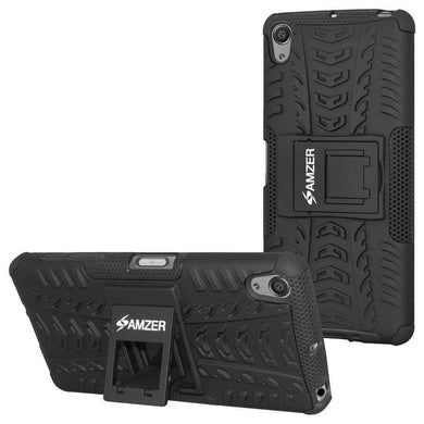AMZER Shockproof Warrior Hybrid Case for Sony Xperia X - Black/Black - fommystore