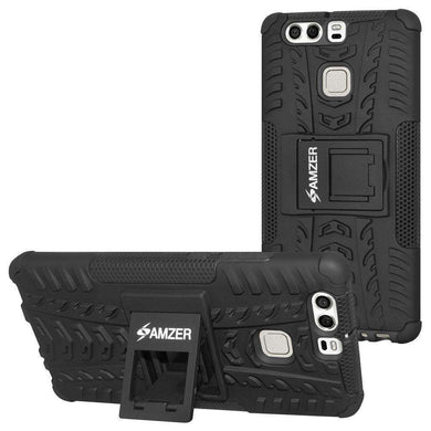 AMZER Shockproof Warrior Hybrid Case for Huawei P9 - Black/Black - fommystore