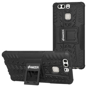 AMZER Shockproof Warrior Hybrid Case for Huawei P9 - Black/Black