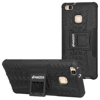 AMZER Shockproof Warrior Hybrid Case for Huawei P9 Lite - Black/Black - fommystore