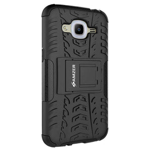 AMZER Shockproof Warrior Hybrid Case for Samsung Galaxy J2 2016 - Black/Black - fommystore