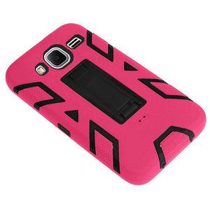 Premium Hip Vertical Hybrid Kickstand - Black/ Hot Pink for Samsung GALAXY Core Prime SM-G360 - fommystore