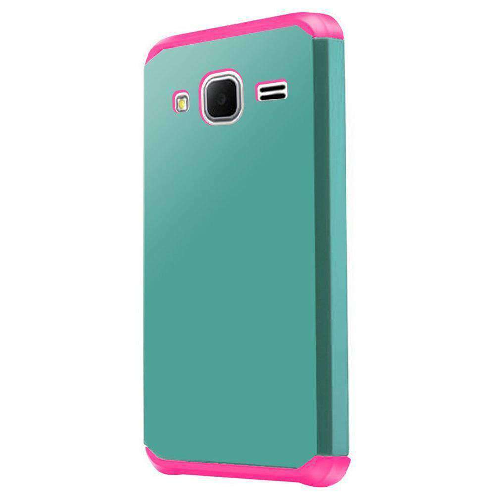 Slim Hybrid Dual Layer Armor Case for Samsung GALAXY Core Prime - Teal/Hot Pink - fommystore