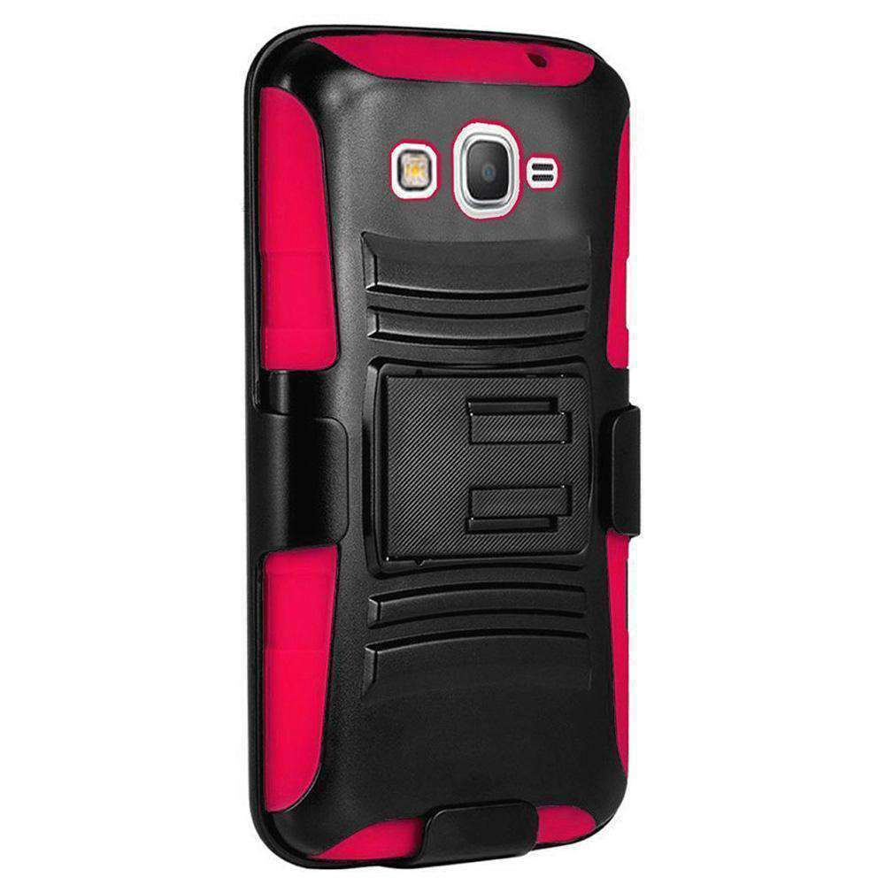 Hybrid Kickstand Case With Holster Clip - Black/ Hot Pink for Samsung GALAXY Go Prime G530A - fommystore