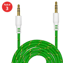 Load image into Gallery viewer, 3.5mm Nylon Tangle-Free Auxiliary Audio Cord Cable - 3 ft. (Pack of 3) - fommystore