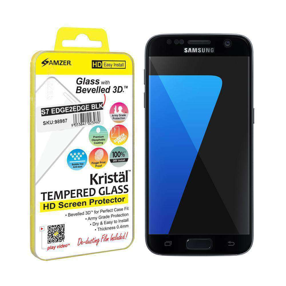 AMZER Kristal HD Edge2Edge Tempered Glass for Samsung GALAXY S7 - Black - fommystore