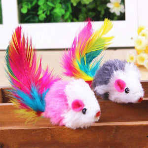 2 Pack Feather Tail Toy Mouse Looklike Dog Cat Pet Toy, Mouse height 5cm) (Random Color)
