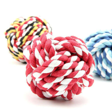 3 x Pets Weave Cotton Rope Ball Colorful Woven Pet Dog Cat Toy, Medium Size (Random Color) - fommystore