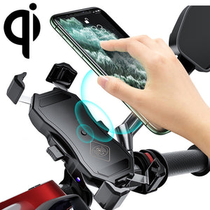 AMZER Waterproof Motorcycle Wireless 15W Qi/USB Quick Charger 3.0 Phone Holder 2 in 1 Mount