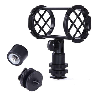 Camera Microphone Shockmount with Hot Shoe Mount for PVM1000 PVM1000L Microphone(Black) - fommystore