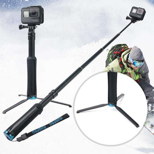 AMZER Portable Foldable Tripod Holder Selfie Monopod Stick for GoProHERO6 /5 Session /5 /4 Session /4 /3+ /3 /2 /1, Xiaoyi Sport Cameras, Length: 23.5-81cm