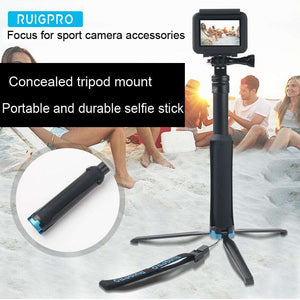 AMZER Portable Foldable Tripod Holder Selfie Monopod Stick for GoPro HERO6 /5 Session /5 /4 Session /4 /3+ /3 /2 /1, Xiaoyi Sport Cameras, Length: 23.5-81cm - fommystore