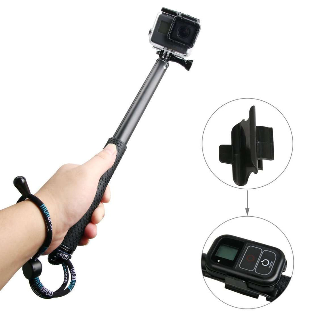 AMZER Handheld Aluminium Extendable Pole Monopod with Screw & Strap & Remote Control Buckle for GoPro HERO5 Session /5 /4 Session /4 /3+ /3 /2 /1, Xiaoyi Sport Cameras, Adjustment Length: 36-110cm - fommystore
