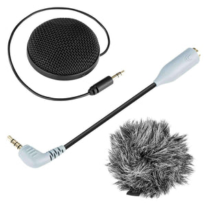 Omnidirectional Stereo Condenser Microphone with Windshield for Smartphones, DSLR Cameras and Video Cameras - fommystore