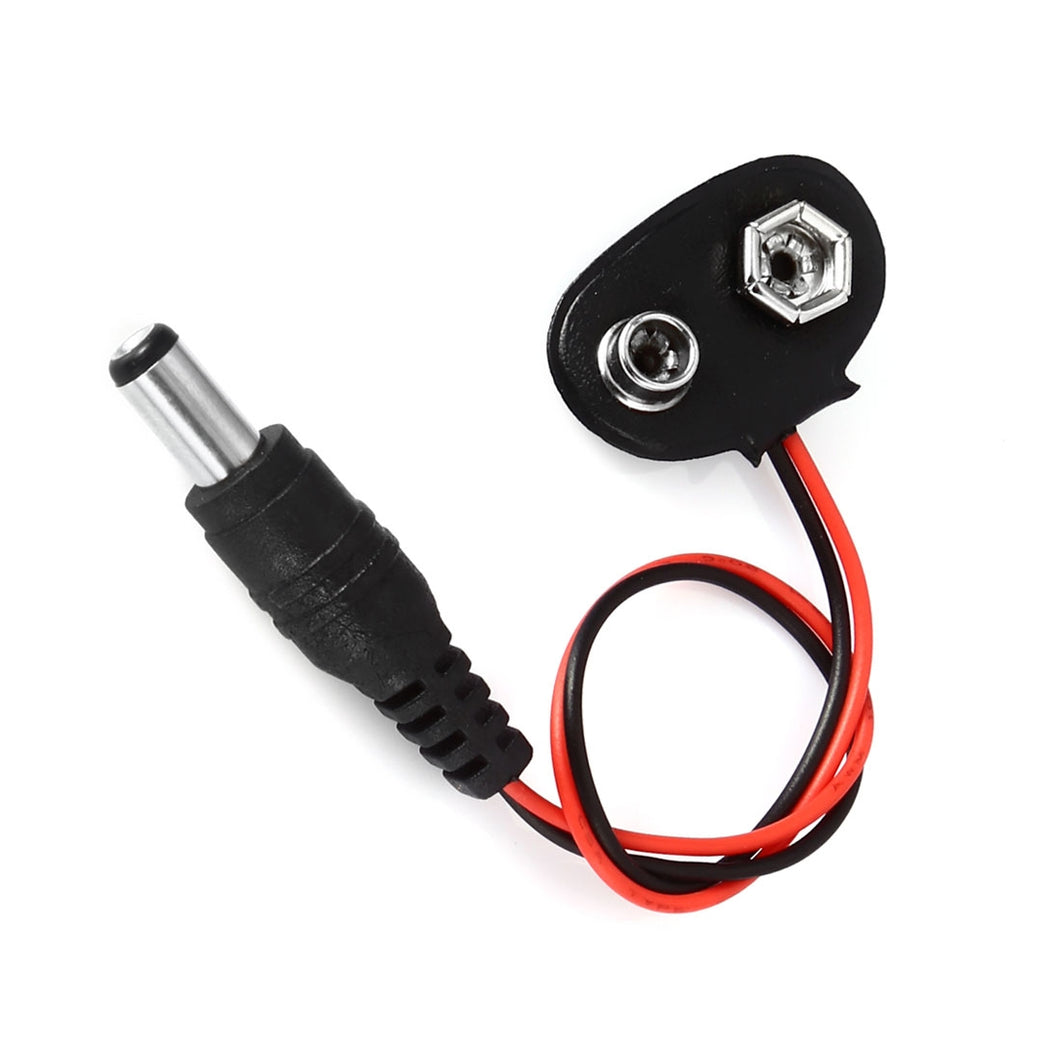 9V Battery Snap Connector to DC Male Dedicated Power Adapter Cable for Arduino Boards - Black