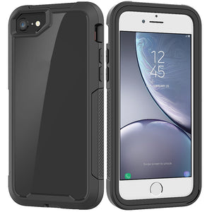 AMZER Full Body Hybrid Cover With Tempered Glass Screen Protector for iPhone 7/8, iPhone SE 2020 - Black