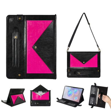 AMZER Envelope Design Flip Wallet Case For Samsung Galaxy S6 Lite with Pen Holder and Shoulder Strap  - Black/ Rose Red