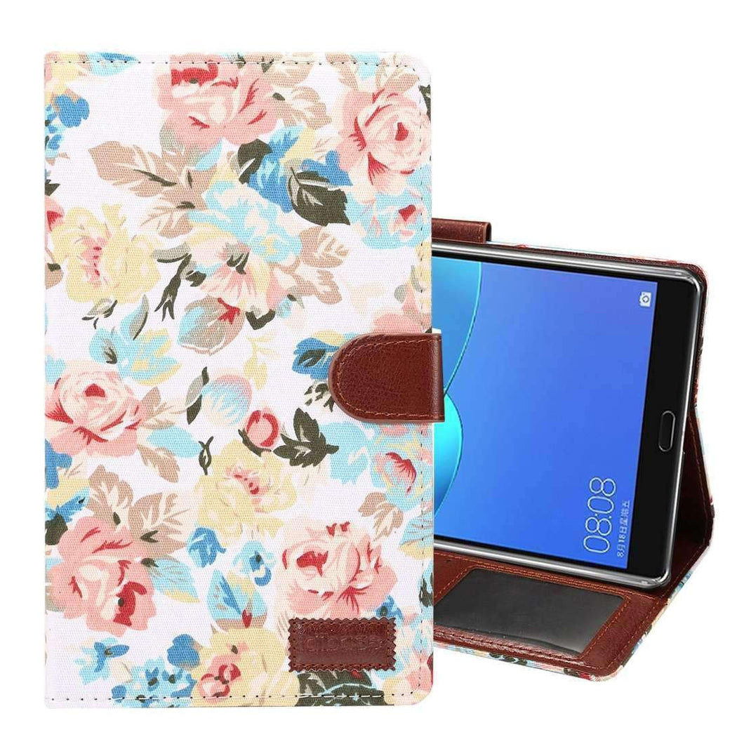 AMZER Flip PU Leather Case with Holder For Huawei MediaPad M5 8.4 Inch - White Flowers - fommystore