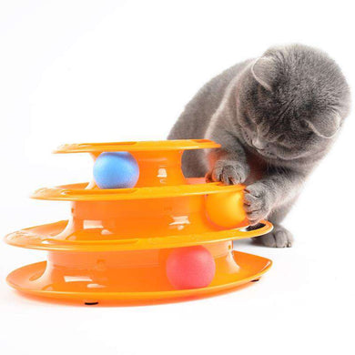 Interactive 3 Layers Tower of Tracks Balls Cat Toy (Orange) - fommystore