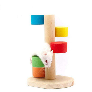 Pet Natural Wood Hamster Colorful Scaling Step Ladder Platform Toy for Small Pets - fommystore
