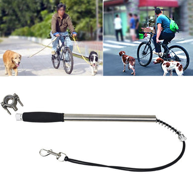 Pet Supplies Stainless Steel Bicycle Pet Dog Traction Rope Leash, Stainless Steel Pipe Diameter: 2 x 42.5cm - Black - fommystore