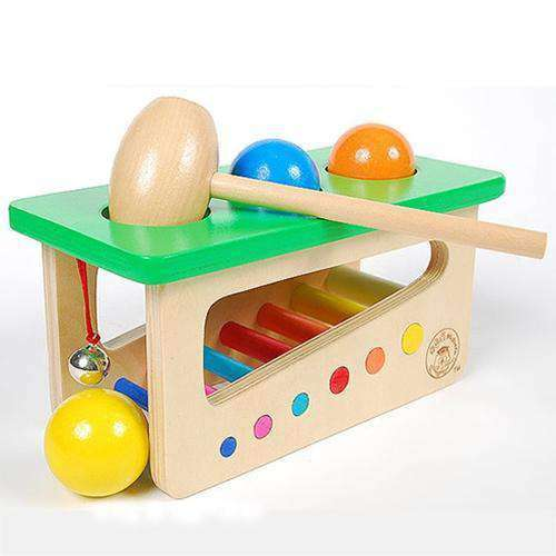 Educational Toy Colorful Wooden Ringing Bell Knocking Ball Station - fommystore
