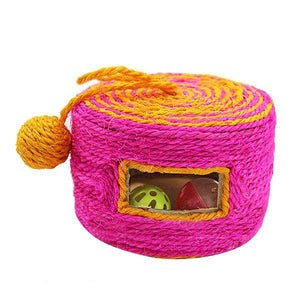 Sisal Woven Round Bucket Wear-resistant Sisal Cat Pet Toys with 2 Sound Ball, Random Color Delivery - fommystore