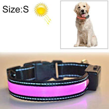 Load image into Gallery viewer, LED Dog Collar - Solar + USB Charging Glowing PET Collar for Night Safety Light Up Caller, Neck Circumference Size: S, 35-40cm - fommystore