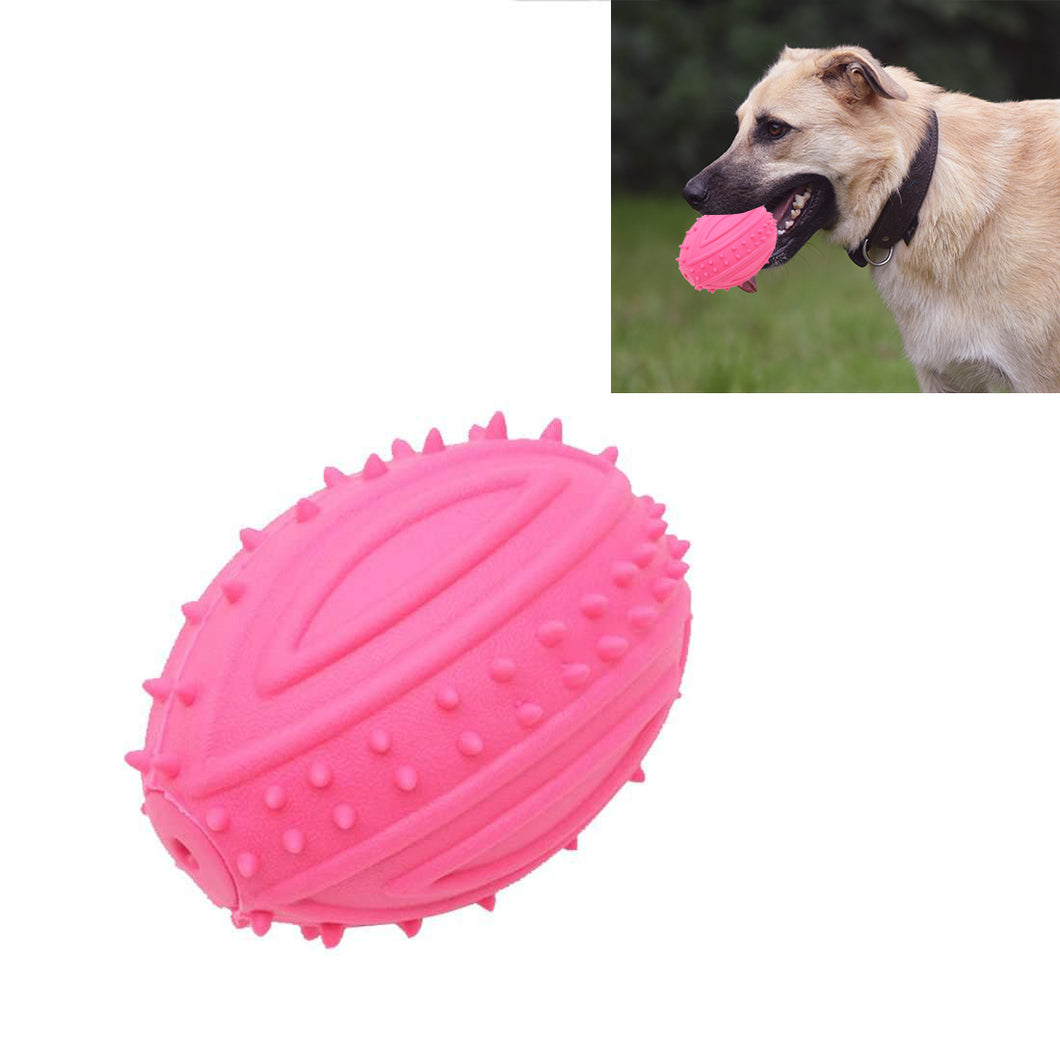 Rubber Sound Ball Shape Dog Chew Toys Resistant Bite for Pet Molar Play, Random Color Delivery, Size: 9.0x6.5cm - fommystore