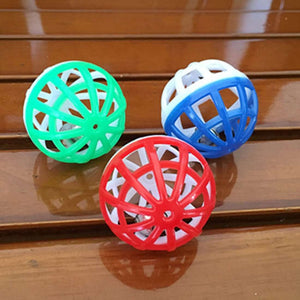 10 PCS Pet Plastic Hollow Out Round Cat Hamster Play Balls Colorful Ball Chase Rattle Toys With Small Bell