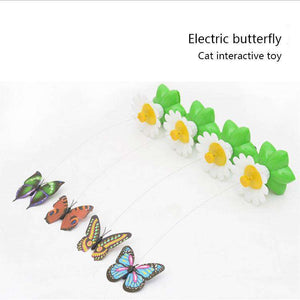 Electric Butterfly Flying Around The Flower Pet Cat Toy - fommystore