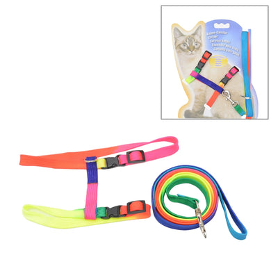 Colorful Nylon Pet Cat Adjustable Harness Lead Leash Collar Belt, Length: 120cm - fommystore