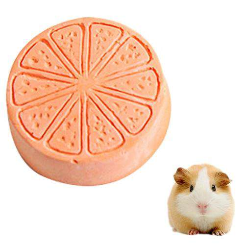 Pet Fruit Type Calcium Stone Hamsters Rabbits Small Pets Teeth Grinding Stones Pets Training Tools(Orange) - fommystore