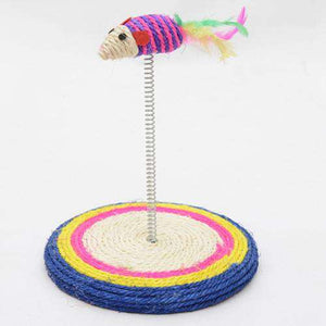 Colorful Pet Cat Playing Toys Sisal Spring Seat Cat Scratch Board With Mouse, Board Diameter: 19cm - fommystore