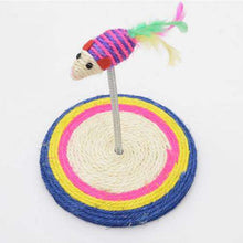 Load image into Gallery viewer, Colorful Pet Cat Playing Toys Sisal Spring Seat Cat Scratch Board With Mouse, Board Diameter: 19cm - fommystore